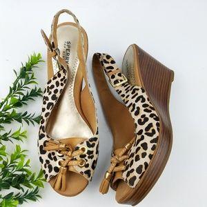 SPERRY Leopard Calf Hair Peep Toe Wedge Sandals